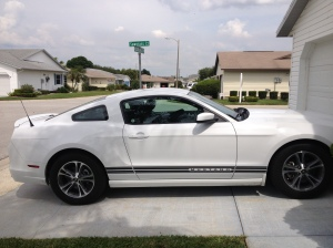 Our rental car, a 2014 Ford Mustang!