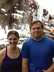 Brett and I at SeaWorld visiting the penguins!