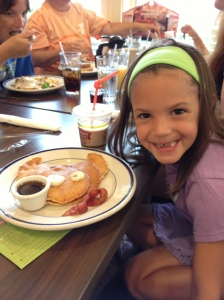 Riley and her piggy pancake
