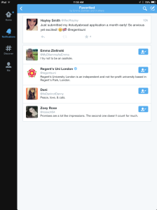 I tweeted that I finished my application and Regent's University favorited it!